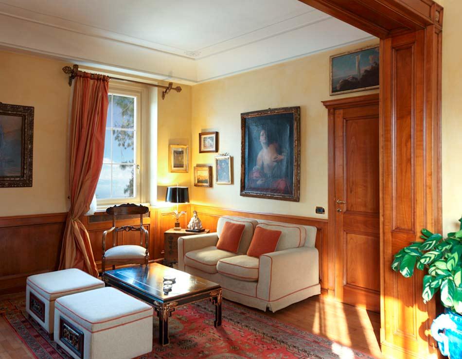 Lake como villa wooden boiseries interior decoration dotti